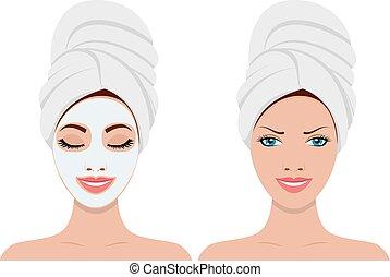 donna, maschera, facciale