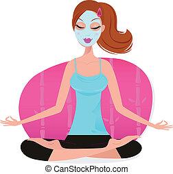 donna, maschera, giovane, carino, -, facciale, yoga, rosa, atteggiarsi