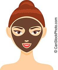 donna, maschera, giovane, illustrazione, vettore, facciale