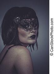 donna, maschera, seducente, sensuale