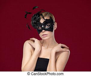 donna, mascherata, penne, maschera, nero, attraente