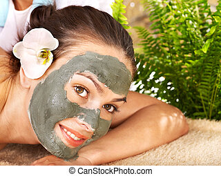 donna, mask., detenere, corpo, giovane, argilla