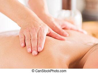 donna, massaggio, ricevimento