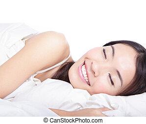 donna, mattina, letto, in pausa