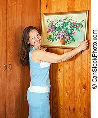donna matura, appendere, arte, immagine