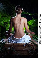 donna meditando, giovane, ambiente, terme, tropico, bello, vista