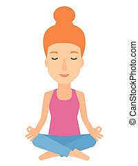 donna meditando, pose., loto