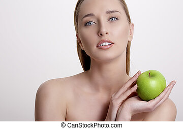 donna, mela, esposizione, giovane, verde, fresco