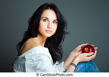 donna, mela, giovane, sexy, fresco, rosso
