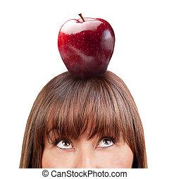 donna, mela, su, isolato, dall'aspetto, brunetta