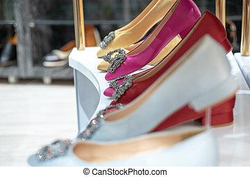 donna, mensola, vendite, moda, scarpa, store.