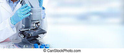 donna, microscopio, lavorativo, dottore