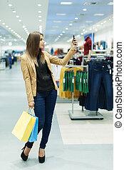 donna, mobile, borse da spesa, giovane, telefono