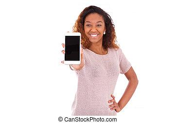 donna, mobile, esposizione, telefono, americano, africano