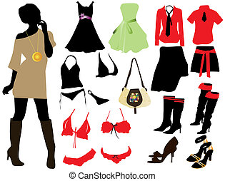donna, moda, elementi