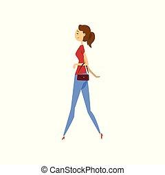 donna, moda, giovane, illustrazione, vettore, fondo, bianco, vestiti