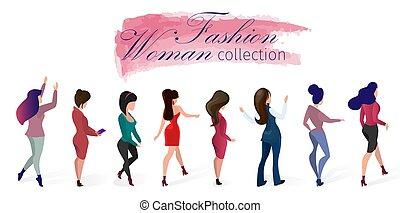 donna, moda, set, illustration., collezione, vettore