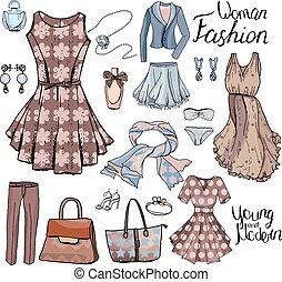 donna, moda, style., vestiti, casuale, oggetti, romantico, scarpe, bra., pacco, design., bianco