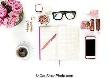 donna, moda, vita, bianco, ancora, oggetti