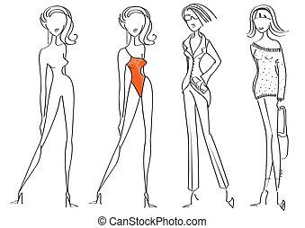 donna, moda, white., vettore, disegno, modelli, vestiti