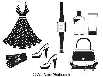 donna, moda, white., vettore, vestire, vestiti