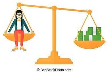 donna, monete., scala, seduta