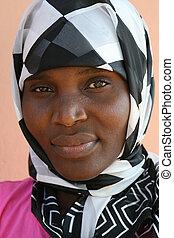 donna, musulmano, africano