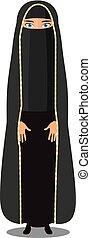 donna, musulmano, giovane, tradizionale, arabo, abbigliamento