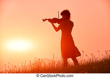 donna, natura, tramonto, violino, gioco, rosso