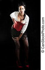donna nera, brunetta, isolato, attraente