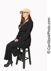 donna nera, co, pantaloni, seduta
