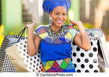 donna nera, portante, borse da spesa