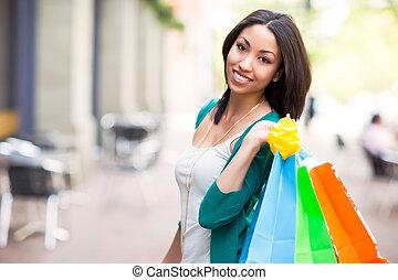 donna nera, shopping