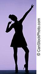 donna nera, silhouette, giovane