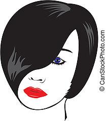 donna, nero, -, faccia, rosso