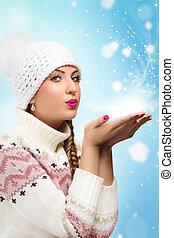 donna, neve, soffiando