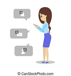 donna, no, mobile, giovane, triste, telefono, presa a terra, messaggio, segno