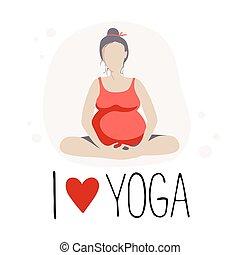 donna, o, incinta, batterfly, yoga., posa loto