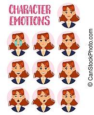 donna, o, signora, ragazza, facce, con, emozioni