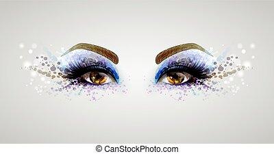 donna, occhi