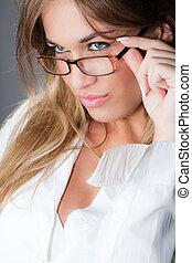 donna, occhiali