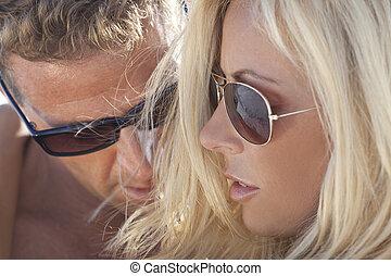 donna, occhiali da sole, coppia, attraente, sexy, uomo, felice