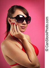 donna, occhiali da sole, giovane