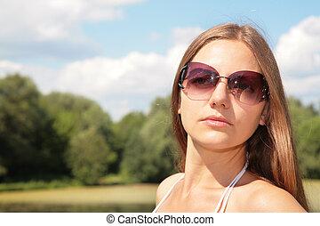 donna, occhiali da sole, giovane, bellezza