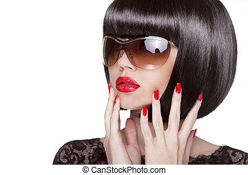 donna, occhiali da sole, nails., esposizione, trucco, isolato, polacco, fondo., moda, brunetta, manicured, ritratto, professionale, modello, bianco rosso, hairstyle.