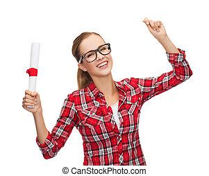 donna, occhiali, diploma, ridere