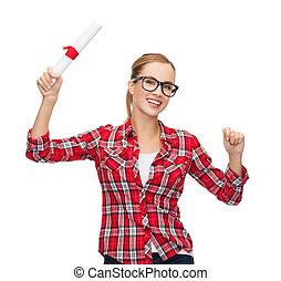 donna, occhiali, diploma, sorridente