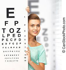 donna, occhiali, occhio