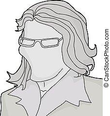 donna, occhiali, vuoto, faccia