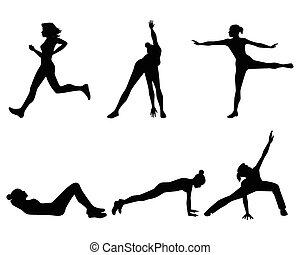 donna, occupato, sport